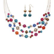 Mixit™ Multicolor Bead Double-Drop Earring and 3-Row Illusion Necklace Set