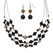 Mixit™ Black and Gold-Tone Bead Double-Drop Earring and 3-Row Illusion Necklace Set
