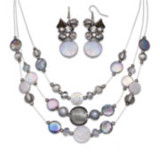 Mixit™ Gray Shell and Silver-Tone Bead Cluster Earring and 3-Row Illusion Necklace Set
