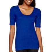 Decree® Elbow-Sleeve Ribbed Bodycon T-Shirt