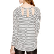 Decree® Dolman-Sleeve Lattice-Back Top