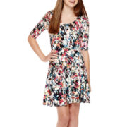 Decree® Elbow-Sleeve Skater Dress- Juniors