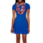 My Michelle® Short-Sleeve Knit Fit-and-Flare Dress with Scarf