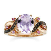 CLOSEOUT! Le Vian® Genuine Amethyst, Smoky Quartz and Pink Sapphire 14K Rose Gold Ring