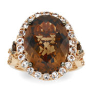 CLOSEOUT! Le Vian® Genuine Smoky Quartz and White Topaz 14K Rose Gold Ring