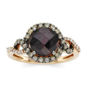 CLOSEOUT! Le Vian® Genuine Rhodolite, White and Chocolate Diamond® Ring
