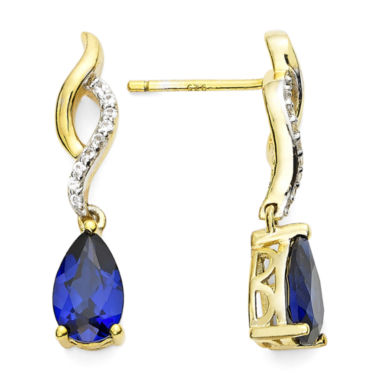 jcpenney.com | Pear-Shaped Lab-Created Blue and White Sapphire Twisted Drop Earrings