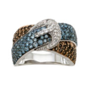 Genuine Blue Topaz and Citrine Sterling Silver Crossover Buckle Ring