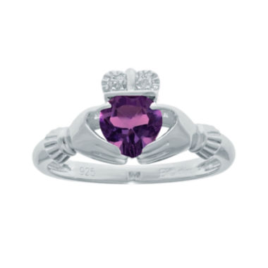 jcpenney.com | Heart-Shaped Genuine Amethyst and Diamond-Accent Sterling Silver Claddagh Ring