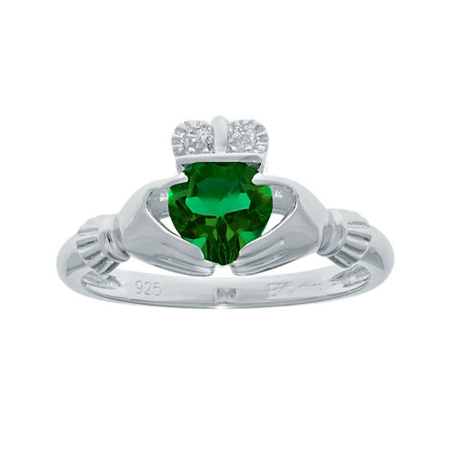 Heart-Shaped Lab-Created Emerald and Diamond-Accent Sterling Silver Claddagh Ring