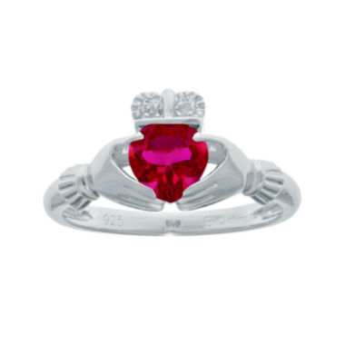 jcpenney.com | Heart-Shaped Lab-Created Ruby and Diamond-Accent Sterling Silver Claddagh Ring