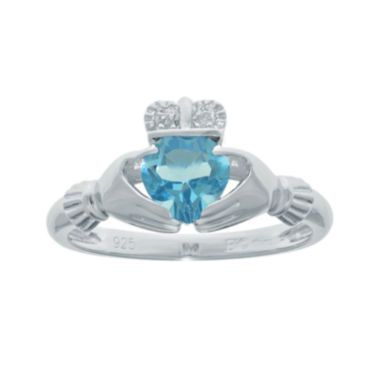 jcpenney.com | Heart-Shaped Genuine Blue Topaz and Diamond-Accent Sterling Silver Claddagh Ring
