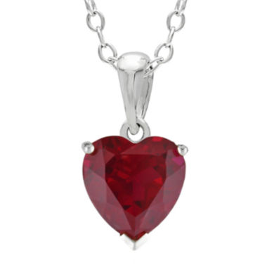 jcpenney.com | Heart-Shaped Lab-Created Ruby Sterling Silver Pendant Necklace