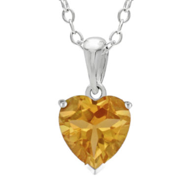 jcpenney.com | Heart-Shaped Genuine Citrine Sterling Silver Pendant Necklace
