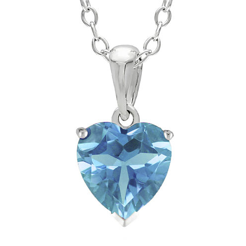 Heart-Shaped Genuine Blue Topaz Sterling Silver Pendant Necklace