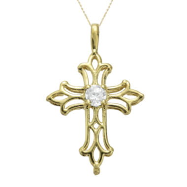 jcpenney.com | Genuine White Topaz 10K Yellow Gold Cross Pendant Necklace