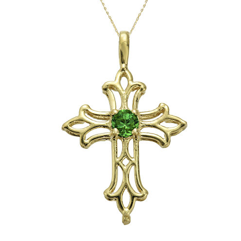Lab-Created Emerald 10K Yellow Gold Cross Pendant Necklace