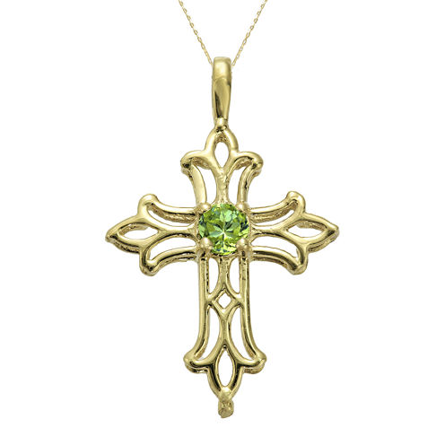 Genuine Peridot 10K Yellow Gold Cross Pendant Necklace
