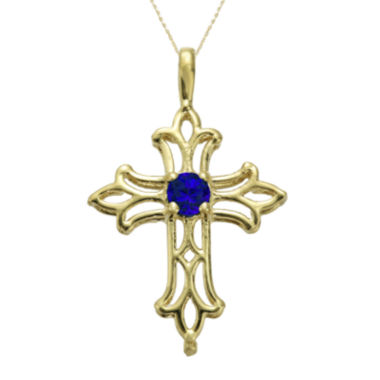 jcpenney.com | Lab-Created Sapphire 10K Yellow Gold Cross Pendant Necklace