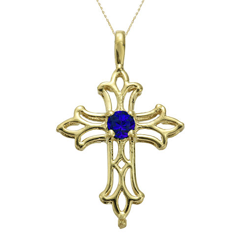 Lab-Created Sapphire 10K Yellow Gold Cross Pendant Necklace