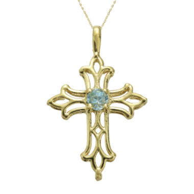 jcpenney.com | Genuine Blue Topaz 10K Yellow Gold Cross Pendant Necklace