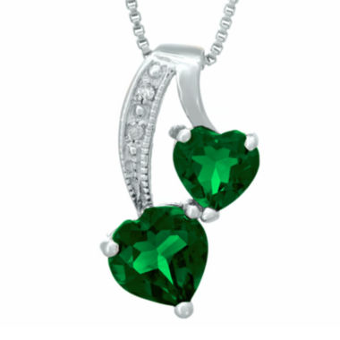 jcpenney.com | Lab-Created Emerald and Diamond-Accent Sterling Silver Double-Heart Pendant Necklace