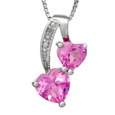 jcpenney.com | Lab-Created Pink Sapphire and Diamond-Accent Sterling Silver Double-Heart Pendant Necklace