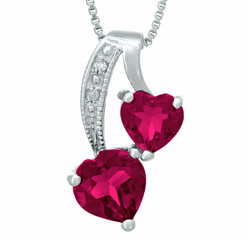 Lab-Created Ruby and Diamond-Accent Sterling Silver Double-Heart Pendant Necklace