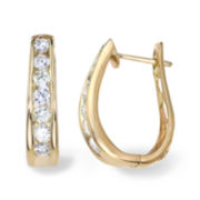 2 CT. T.W. Diamond 14K Yellow Gold Hoop Earrings