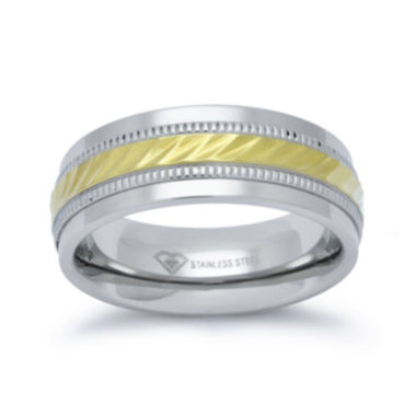 jcpenney.com |  Personalized Mens 8mm Two-Tone Stainless Steel Wedding Band