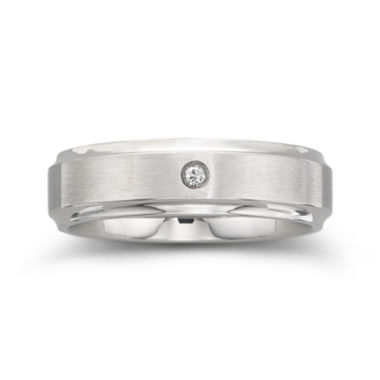 jcpenney.com |  Personalized Mens Diamond-Accent 6mm Stainless Steel Wedding Band