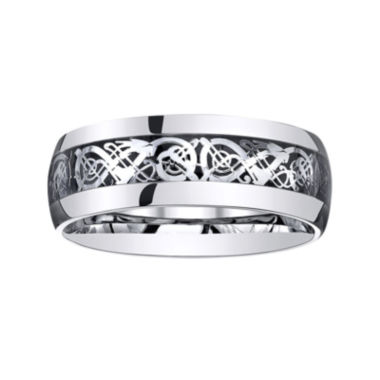 jcpenney.com |  Personalized Mens Filigree Inlay Stainless Steel Wedding Band
