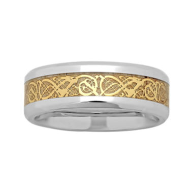 jcpenney.com |  Personalized Mens Celtic Dragon Two-Tone Stainless Steel Wedding Band