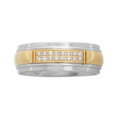jcpenney.com |  Personalized Mens 1/10 CT. T.W. Diamond 8mm Two-Tone Stainless Steel Wedding Band