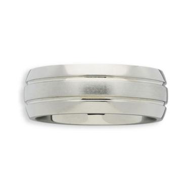 jcpenney.com |  Personalized Mens 7.5mm Double-Grooved Titanium Wedding Band