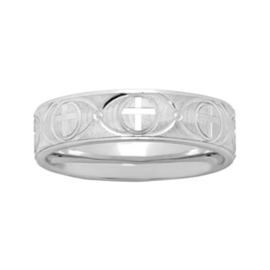 jcpenney.com | Mens Personalized 6mm Comfort Fit Sterling Silver Cross Wedding Band