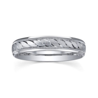 jcpenney.com |  Personalized 4mm Comfort Fit Swirled Sterling Silver Wedding Band