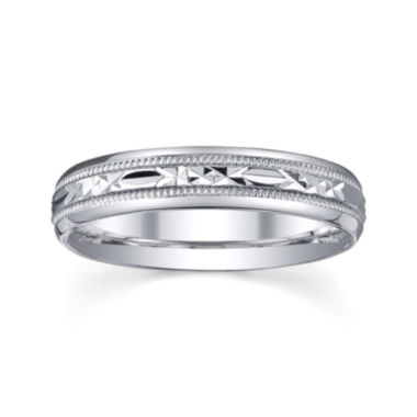 jcpenney.com |  Personalized 4mm Comfort Fit Criss-Cross Sterling Silver Wedding Band