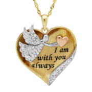 Crystal-Accent 14K Gold Over Silver Angel Heart Pendant Necklace