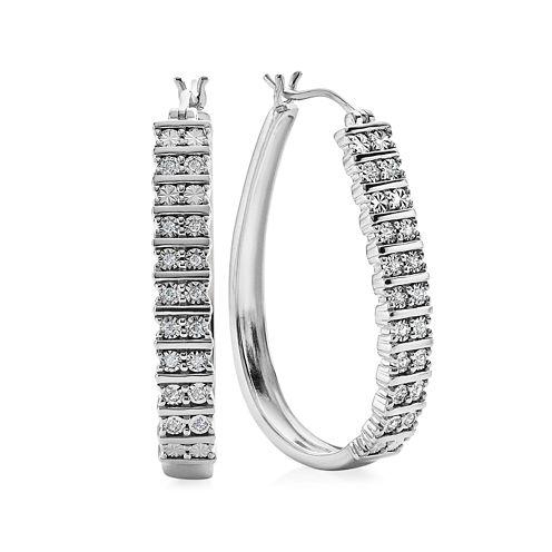 1/4 CT. T.W. Diamond 36mm Sterling Silver Hoop Earrings