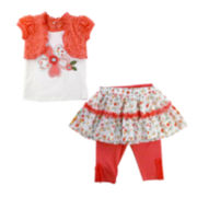 Nanette Baby Flower Top, Leggings and Skirt - Toddler Girls 2t-4t