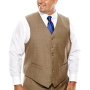 Stafford® Travel Brown Sharkskin Suit Vest - Big & Tall