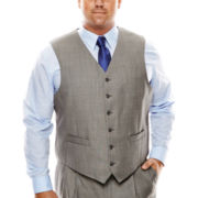 Stafford® Travel Gray Sharkskin Suit Vest - Big & Tall