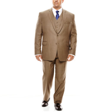jcpenney.com | Stafford® Travel Brown Sharkskin Suit Separates - Portly Fit