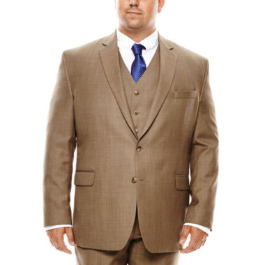 jcpenney.com | Stafford® Travel Brown Sharkskin Suit Jacket - Portly Fit