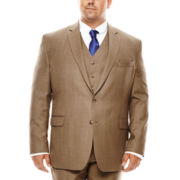 Stafford® Travel Brown Sharkskin Suit Jacket - Portly Fit