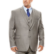 Stafford® Travel Gray Sharkskin Suit Jacket - Portly Fit