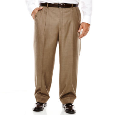 jcpenney.com | Stafford® Travel Sharkskin Pleated Suit Pants - Big & Tall
