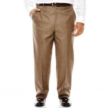 jcpenney.com | Stafford® Travel Brown Sharkskin Flat-Front Suit Pants - Big & Tall