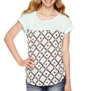 Rewind Short-Sleeve Woven Print T-Shirt